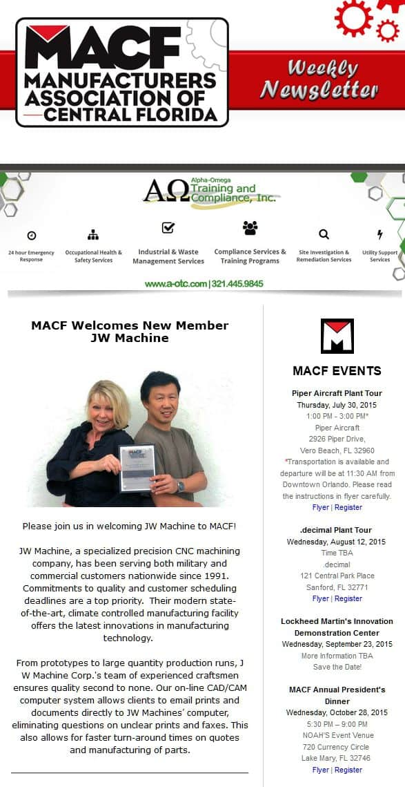 MACF Welcomes New Member JW Machine, JW Machine Precision Machining, Engineering and Manufacturing